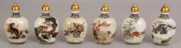 6 zodiac snuff bottles chinese second