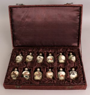 Set of twelve Chinese animal zodiac snuff bottles