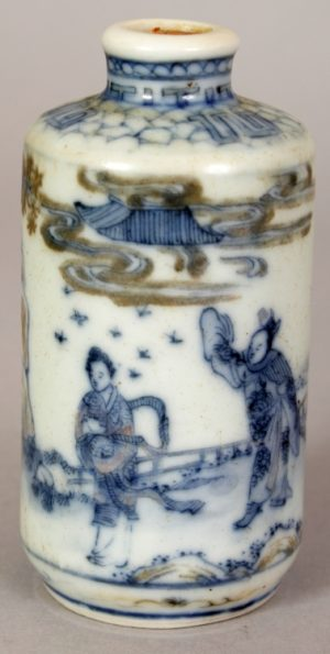 Chinese Underglaze blue & copper red porcelain snuff bottle