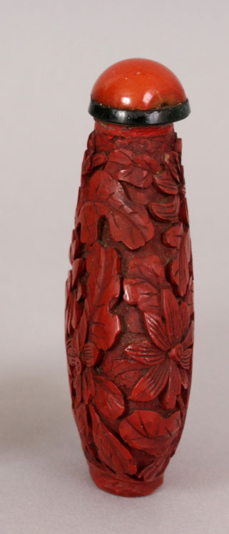 Chinese Red cinnabar lacquer snuff bottle 10