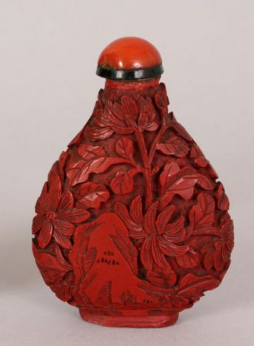 Chinese Red cinnabar lacquer snuff bottle 11