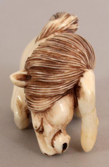 Netzuke carved ivory horse 5