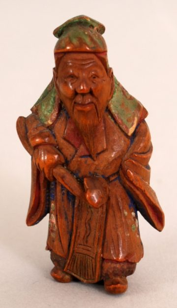 Painted wood netsuke of chinese sage